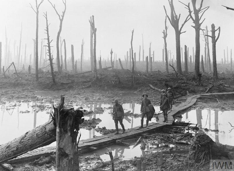 Chateau Wood; Australian troops walk along duckboards through the remains of Chateau Wood, Third Battle of Ypres, 29 October 1917.