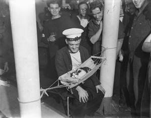 ANIMALS AT WAR: ROYAL NAVY MASCOT 'CONVOY', HMS HERMIONE, GIBRALTAR, 26 NOVEMBER 1941