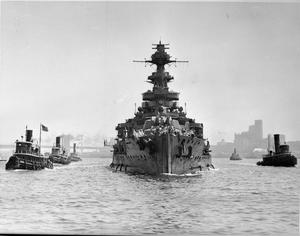 HMS MALAYA LEAVING NEW YORK HARBOUR AFTER REPAIRS, 9 JULY 1941