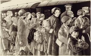 The Evacuation of Children from Southend, Sunday 2nd June 1940 Children in Wartime - Five lithographs by Ethel Gabain.