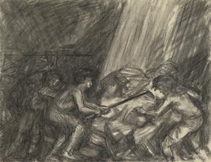 'Coaling Ship', Trimming Coal, July 15th 1915