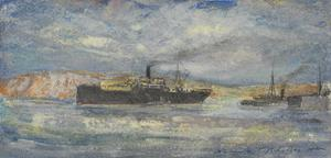 HMS Manica, Balloon Ship, in Kephalos Bay, Imbros