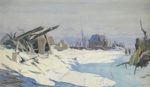 Snow-Covered Ruins on the Western Front