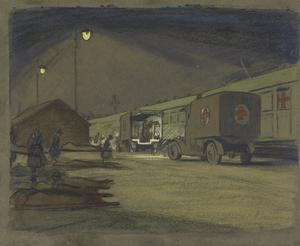Etaples Hospital Siding : a VAD convoy unloading an ambulance train at night