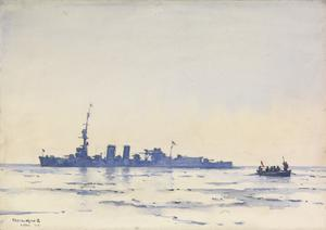 HMS Caledon in the Ice Off Libau