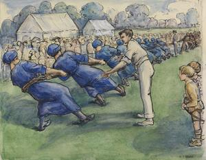 A Tug Of War. Girls v Men : Gordon, Watney & Co., Aeronautical Engineers, Weybridge