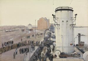 "Danzig. Neufahrwasser. Christmas Day 1918 : British prisoners homeward bound boarding ""HMS Concord"""