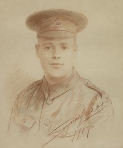 Portrait of a Soldier - A posthumous portrait drawing (from photograph) of Private H Blanchard, killed in 1916.