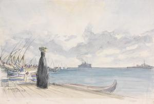 A Transport entering Port Said : Early morning. The liner coming up to the anchorage.
