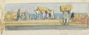 The Tibbin Barge : at sunset natives are unloading fodder brought from Upper Egypt in barges