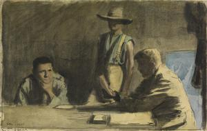 Australians : the orderly hands the officer a telegram from the signal station near, and waits