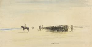 An Inspection of the Scottish Rifle Brigade : on the 30th October, 1917, men who were to participate in the attack on Gaza that night were inspected by the Divisional General