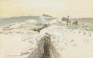 The Defences of Jerusalem : deep trenches extending for miles and blasted in the solid rock guard the road all the way from Kastul - the peak on the horizon, from which the road by hairpin bends descends to Kolonieth before rising to Jerusalem