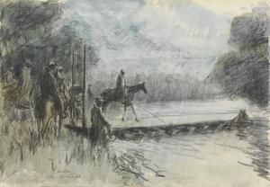 The First Anzac Jordan Bridge : Australian Light Horse crossing the swollen flood of the Jordan on the first pontoon bridge thrown across the river
