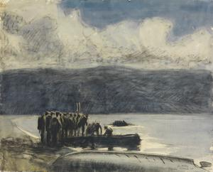 The Dead Sea : on the northern shore of the Dead Sea: moonlight. Patrols embarking in motor-boats to reconnoitre the Turkish forces holding the east bank of the Jordan and the Moab Mountains.