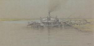 'Tied Up' Steamers and Lighters waiting for Down-river Craft to pass in the Narrows, Tigris