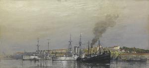 Italian Cruiser Napoli and HMS Queen, Taranto