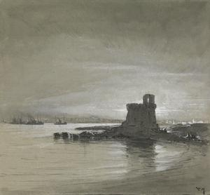 Gallipoli, Italy : Drifters and the tower at sunset