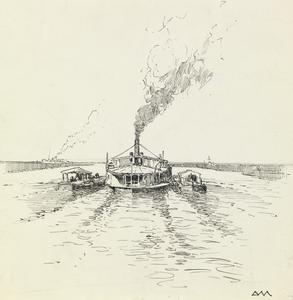 A Steamer and Barges on the Tigris