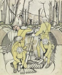 Study for a Trench Mortar Firing at Evening (IWM ART 3910)