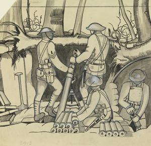 Study for a Trench Mortar Firing at Evening. (No 3910)