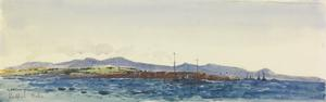 """Sedd-el-Bahr : the transport """"River Clyde"""" at the corner of the Spit, and salvage steamers standing by to refloat her"""