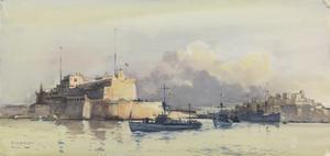 "American Submarine Chasers : depôt Ship ""Leonidas"" (USA) leaving Malta"