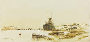 Cargo Transport : landing stores direct to a camp on the Suez Canal, March 1916
