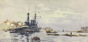HMS Agamemnon at Malta : coaling and taking in ammunition