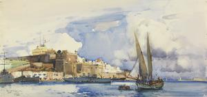 The Fleet Messenger 'Isonzo' at Malta : off the Castile (Signal Station)