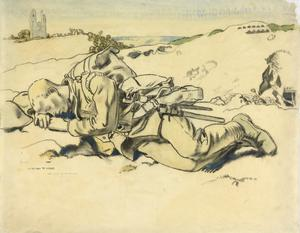 A Man Resting, near Arras. Mont St Eloi on the left, Vimy Ridge in the distance