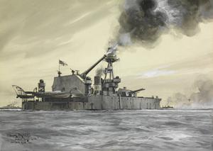 HMS Lord Clive : shelling the German forts on the Belgian Coast with her 18-inch gun