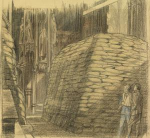 Westminster Abbey : the tomb of Edward the Confessor sandbagged