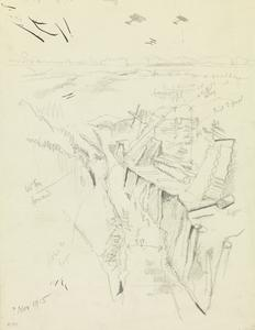 Study for Old French Front Lines, North East of Toutvent Farm, Hebuterne, November 1915
