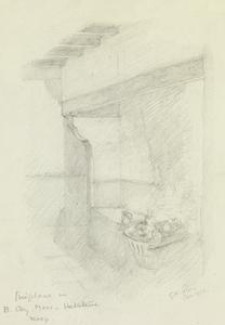 Fireplace in B Company Mess, Hebuterne Keep, January 1916