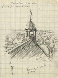 Hombleaux near Ham (sketch from Church Tower), April 16th 1917