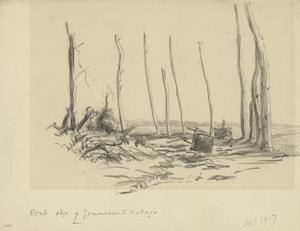 Road on the edge of Gommecourt Village, September 1917