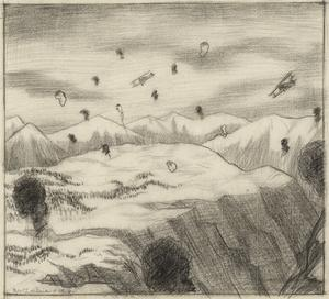 Machines and Anti-aircraft Fire above the Alps near the Valley of the Piave, 7 April 1918