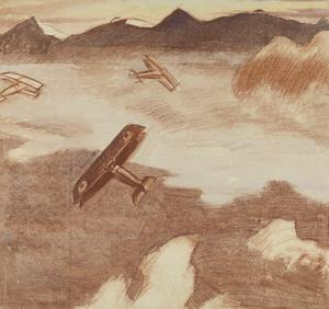 Study for 'British Scouts leaving their Aerodrome on Patrol, over the Asiago Plateau, Italy' (IWM ART 2679)