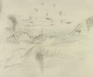 Study for 'Among the Anti-aircraft Bursts at 20,000 feet above the Alps'  (IWM ART 2677)