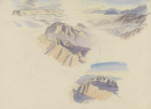 Group of Four Views of Mountains, Skies and Clouds along the Italian Front, Drawn While Flying, October 1918
