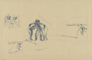 Sketch for 'Assisting an Injured British Pilot, Italy, October 1918' (IWM ART 4533)