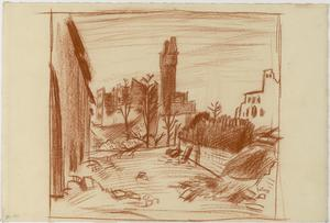 View of a Bombed Village, Italy, 1918