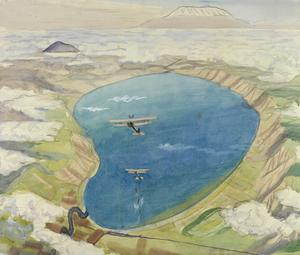 Study for 'The Sea of Galilee: Aeroplanes attacking Turkish Boats' (IWM ART 3080)