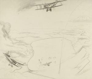 Study for 'The Sea of Galilee: Aeroplanes attacking Turkish Boats, 1919' (IWM ART 3080)