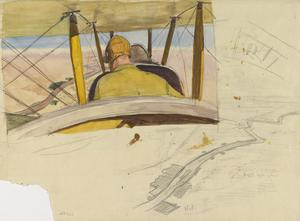 Studies for 'A British Pilot in a BE2C approaching Hit along the Course of the River Euphrates, July 1919' (IWM ART 4617)