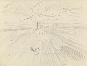 Study for 'Flying Over the Desert at Sunset, Mesopotamia, 1919' (IWM ART 4623)