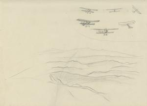 Aircraft Flying in Formation over a Mountain Range, 1919
