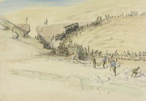 Pioneers : a bridge blown up by the Turks halfway on the road between Jerusalem and Jericho