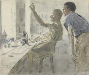 Bacteria : in the laboratory of a field hospital the London specialist and his assistant examine the contents of a test tube